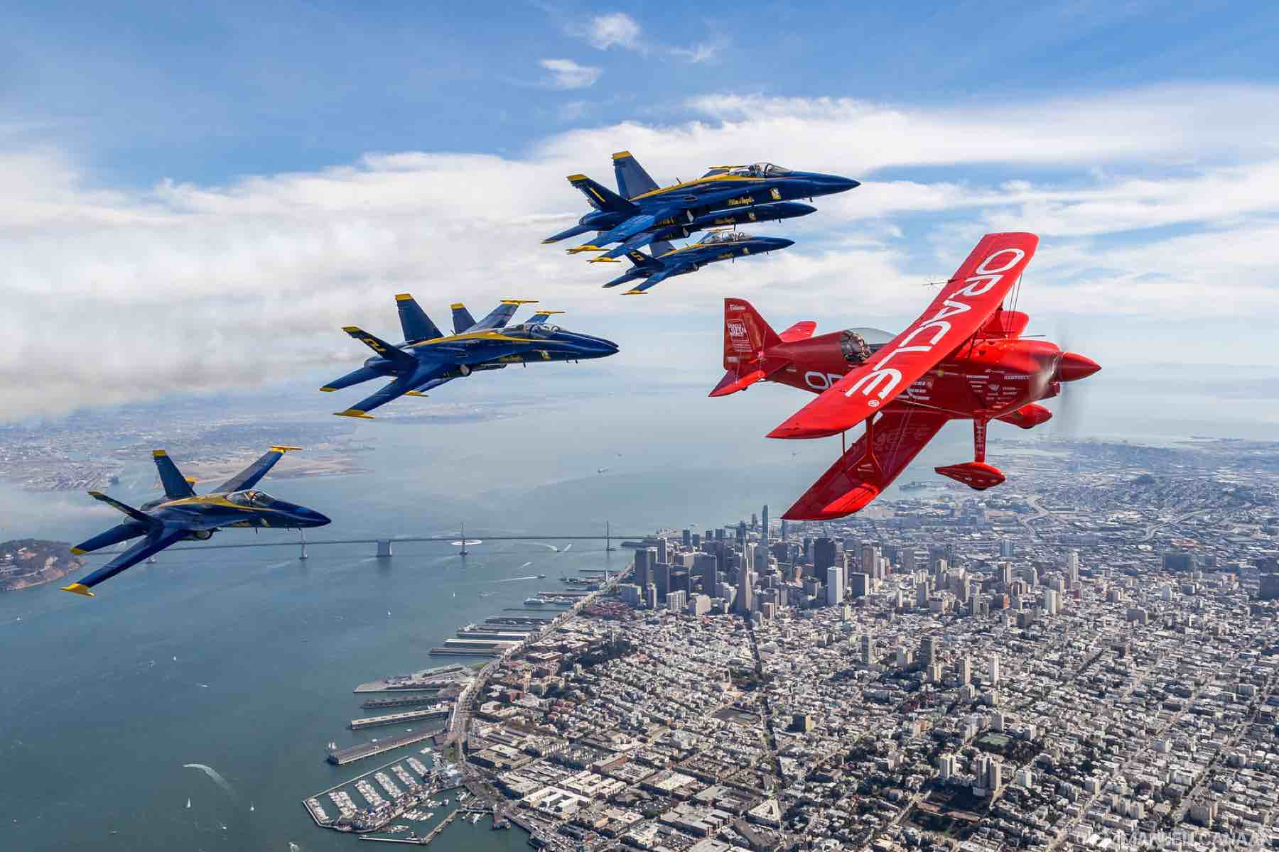 Oracle Plane with Blue Angels