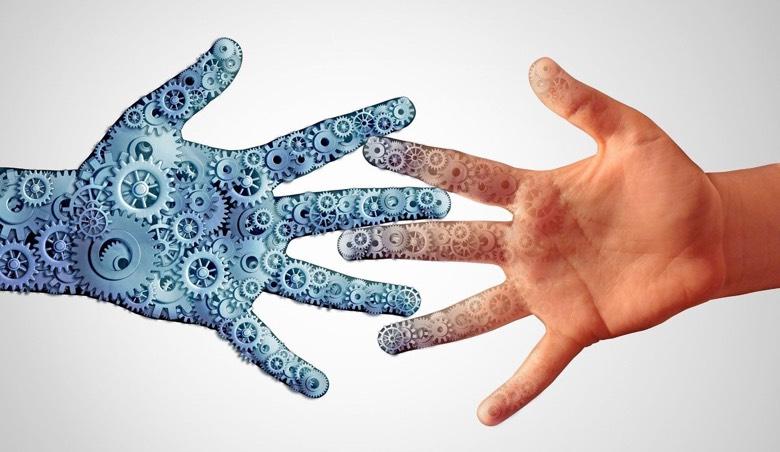 AI hand touching human hand
