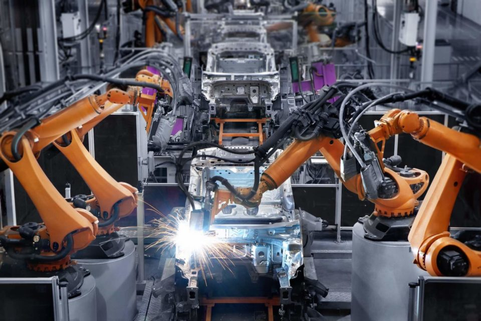 Machines building cars