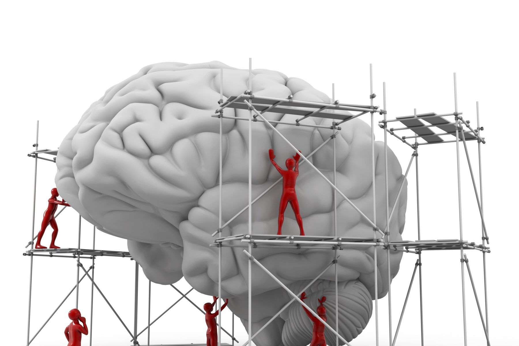 Figures on scaffolding building a brain