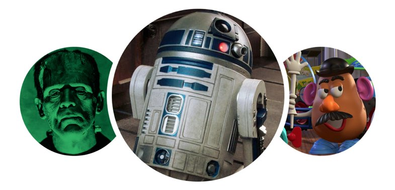 R2D2, Frankenstein and Mr. Potato Head
