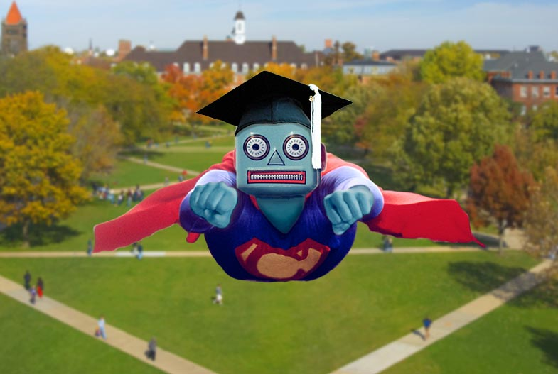 Superman chatbot with a graduation cap