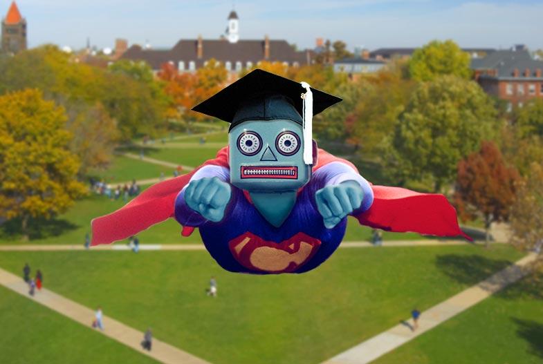 Superman chatbot with a graduation cap