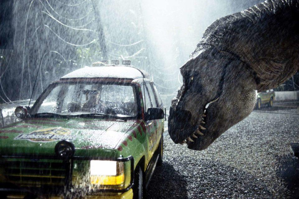 Jurassic Park T-Rex Nudging Car