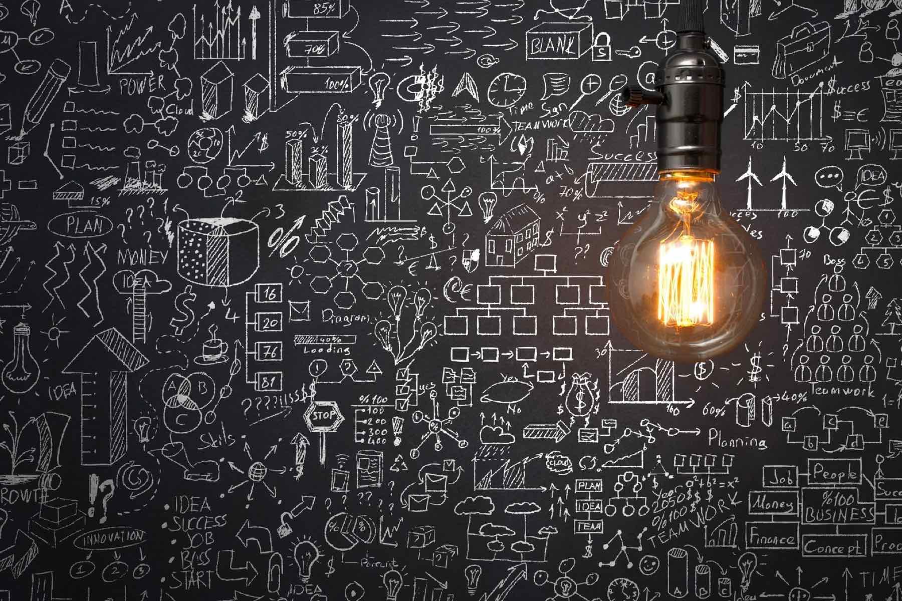 Chalk board with ideas