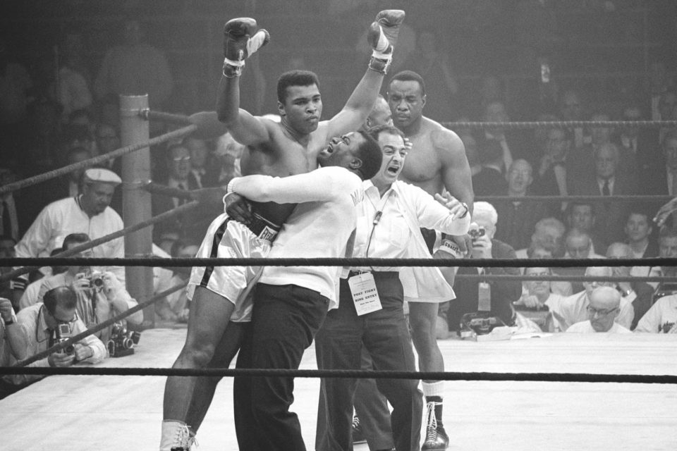 Muhammad Ali winning a match