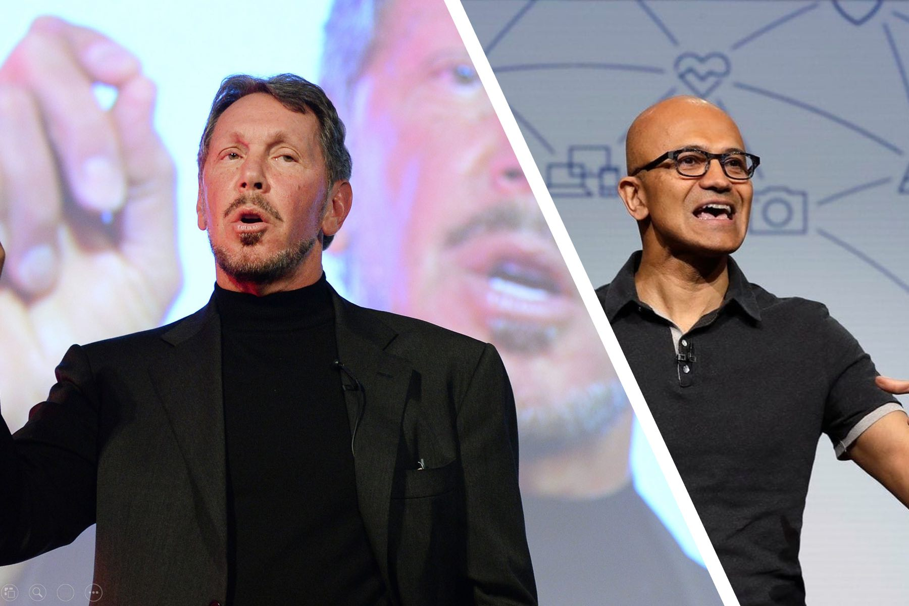 Larry Ellison and Satya Nadella Speaking