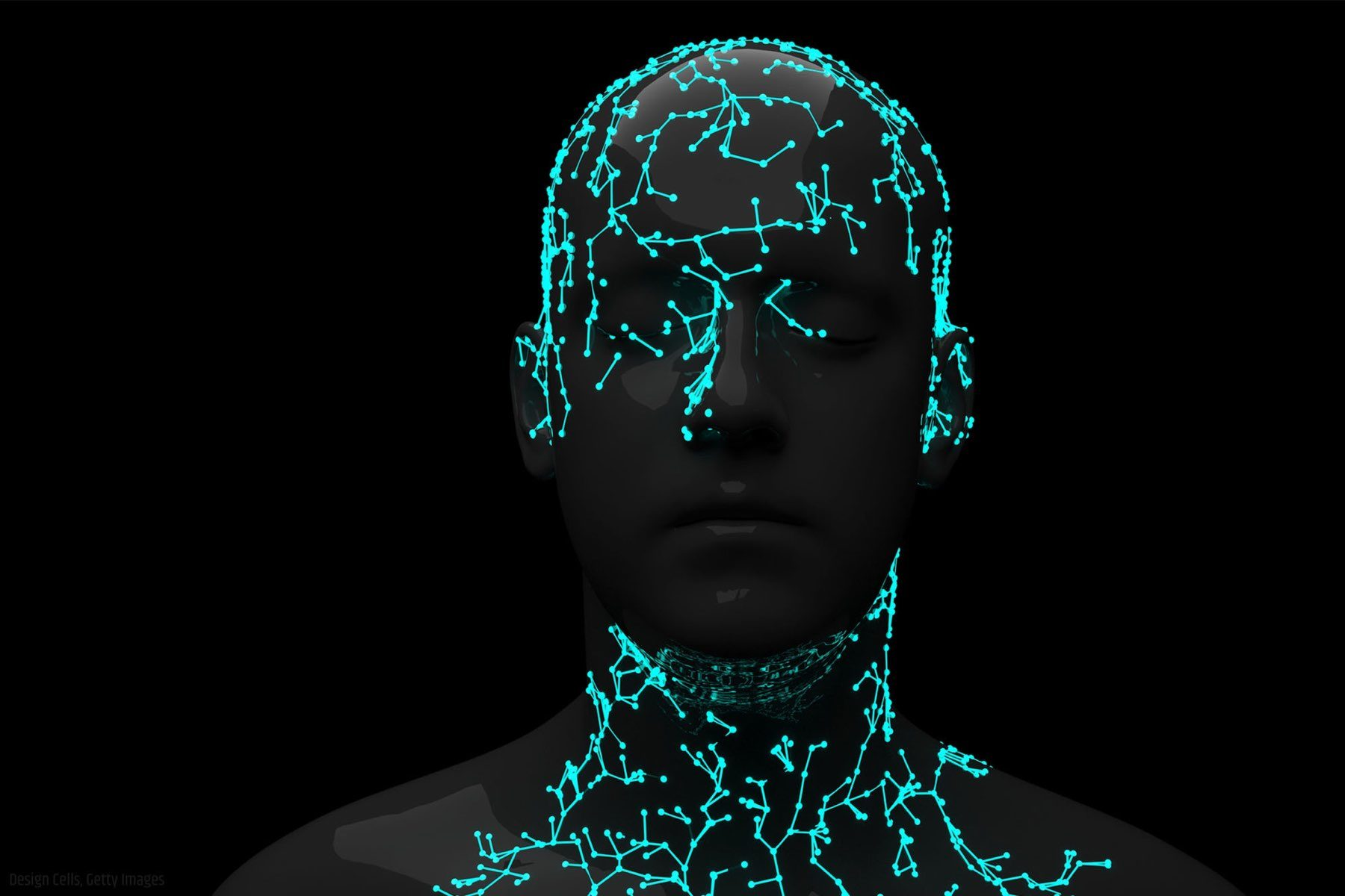 Neon neural net forming silhouette of head