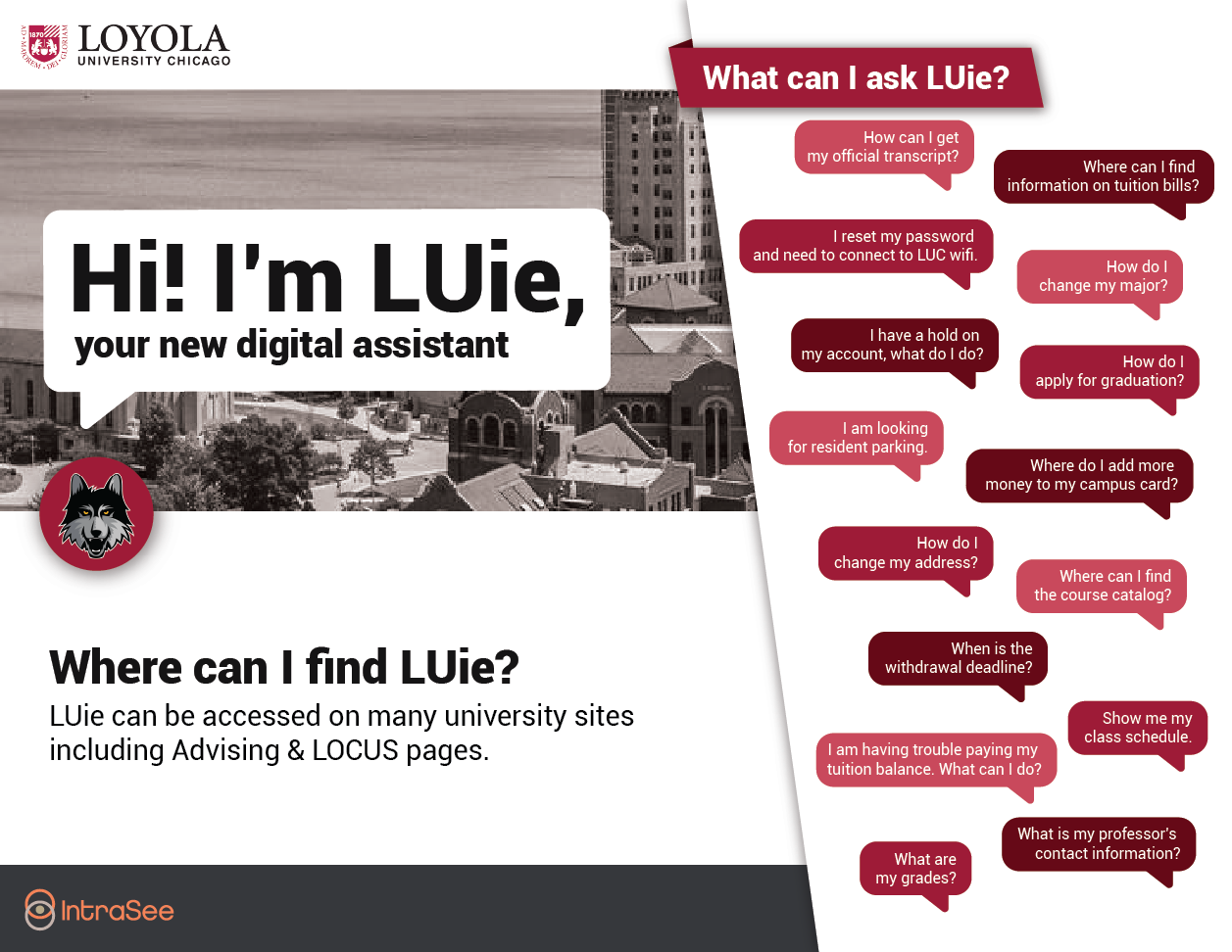 LUie promotional sign with sample questions