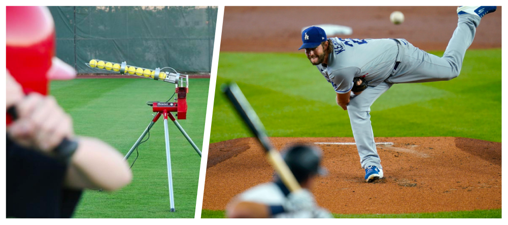 Kershaw pitching vs. pitching machine
