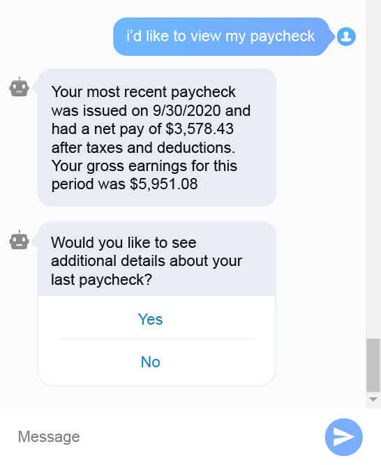 Ida Dialogue: someone asking about paycheck